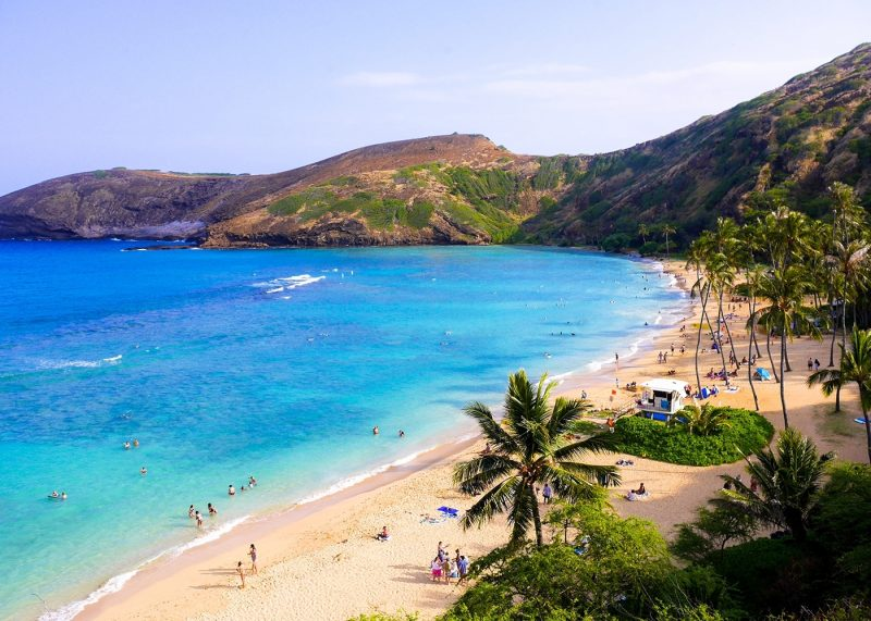 The Hanauma Bay tropical beach in Hawaii