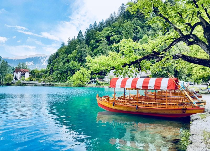 A boat on the water on Lake Bled in Slovenia