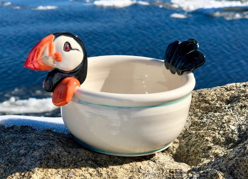 Lisa Marie's Made in Maine pottery - puffin bowl