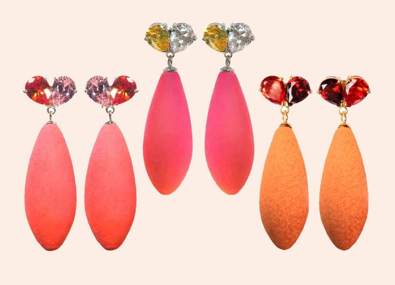 Three pairs of colorful earrings