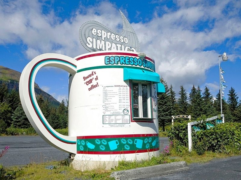 Giant coffee cup roadside coffee stand Seward Alaska