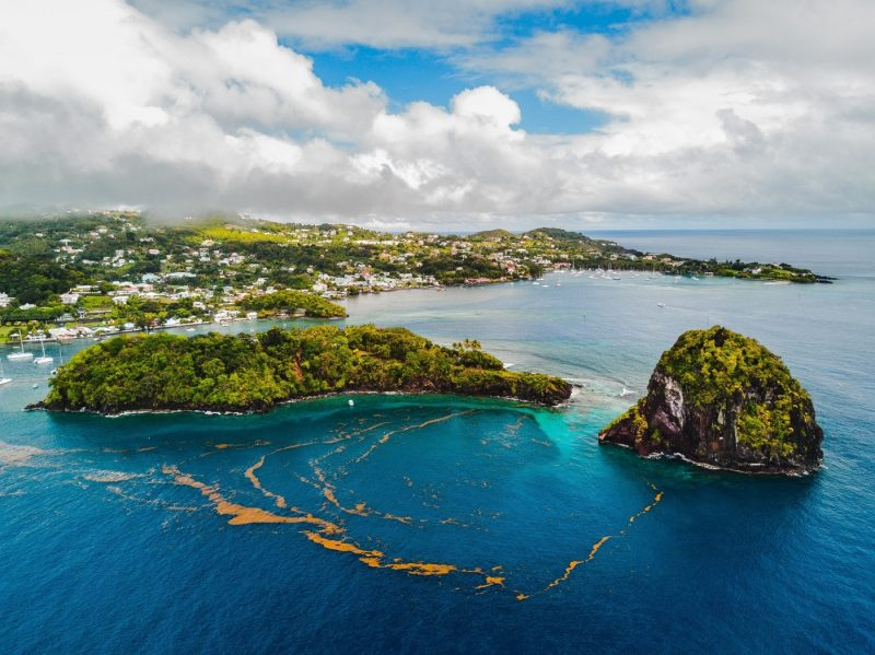 An aerial view over St Vincent and the Grenadines