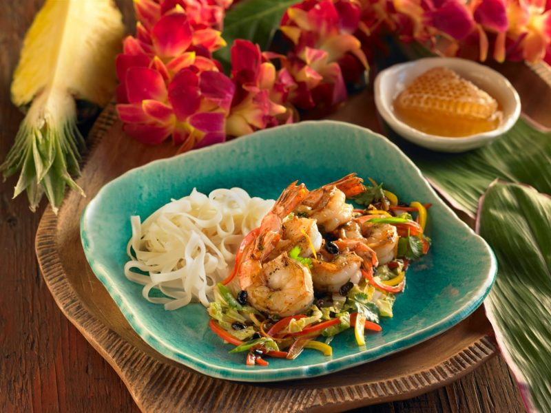 Wok-Flashed Shrimp with Lehua Honey, Hawaiian Regional Cuisine