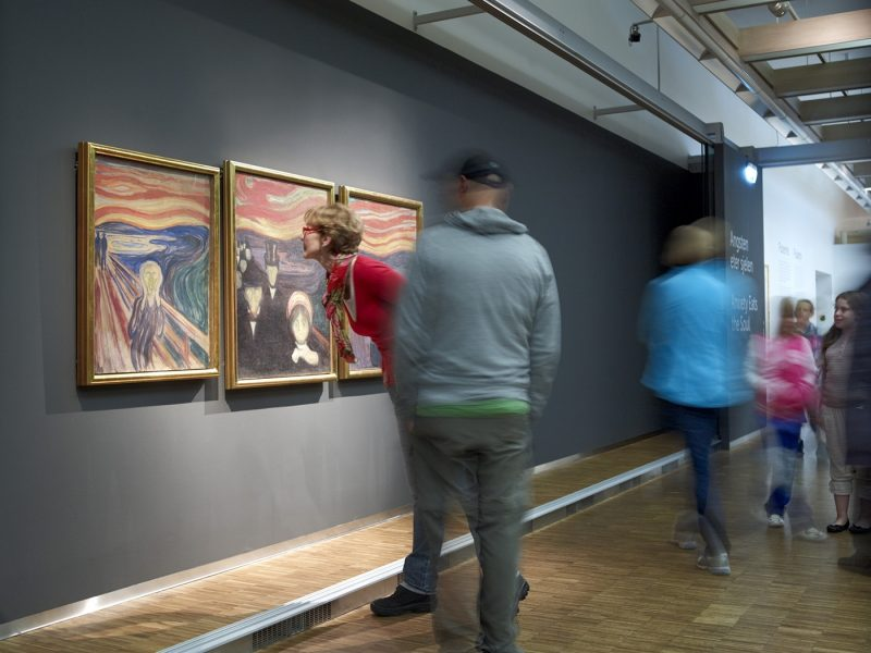 People looking at The Scream at Munch Museum