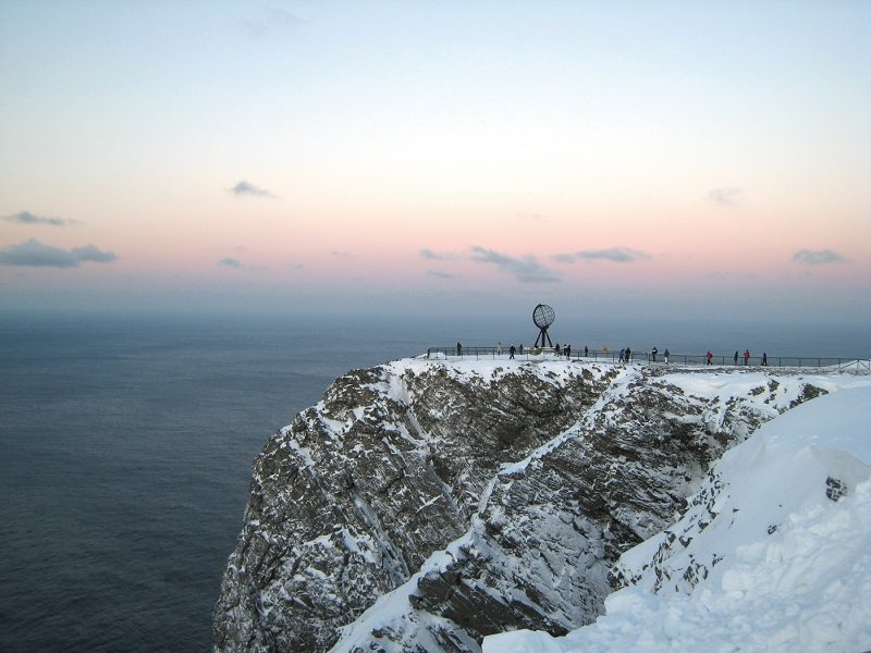 People on North Cape plateau in winter
