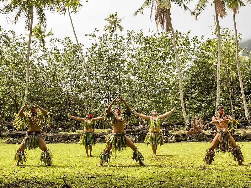 Traditional dance performed in ceremonial costume in Hatiheu, Nuku Hiva Island, Marquesas, French Polynesia, South Pacific