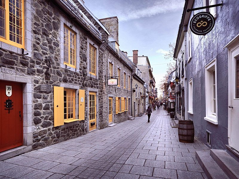 Stores and restaurants on Rue du Petit Champlain street, old City, Quebec