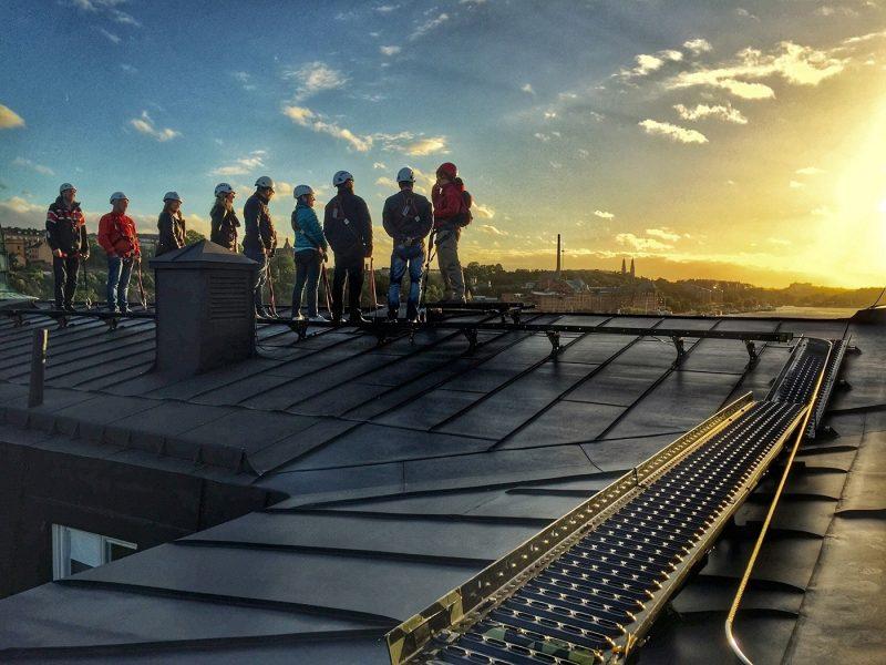 People on Rooftop walk excursion Stockholm