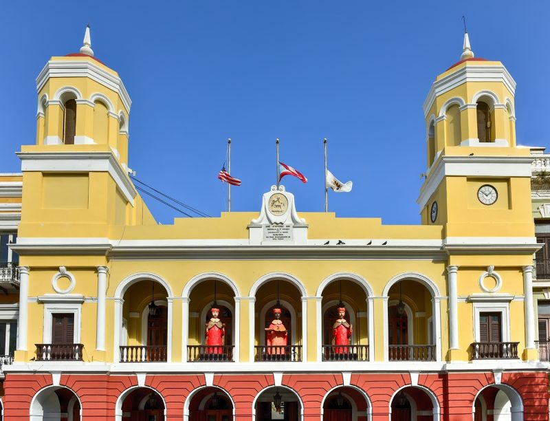 Old San Juan City Hall in the Plaza de Armas in Puerto RicThree Kings decoration