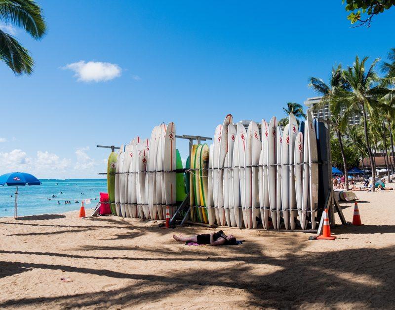 Surfboards in Waikiki, Hawaii