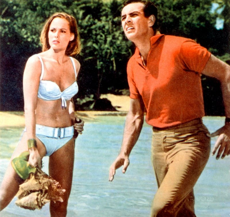 Ursula Andress in her famous white bikini for James Bond's Dr No in Jamaica