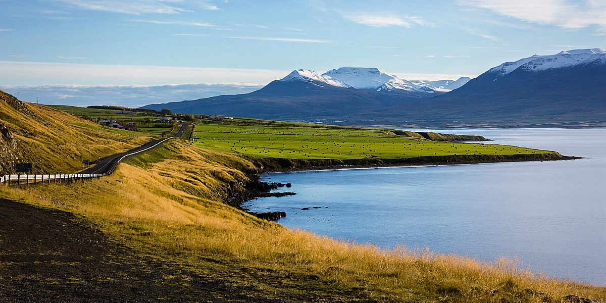 Akureyri, Iceland. Snowy monutains just outside of city © Josh Reid