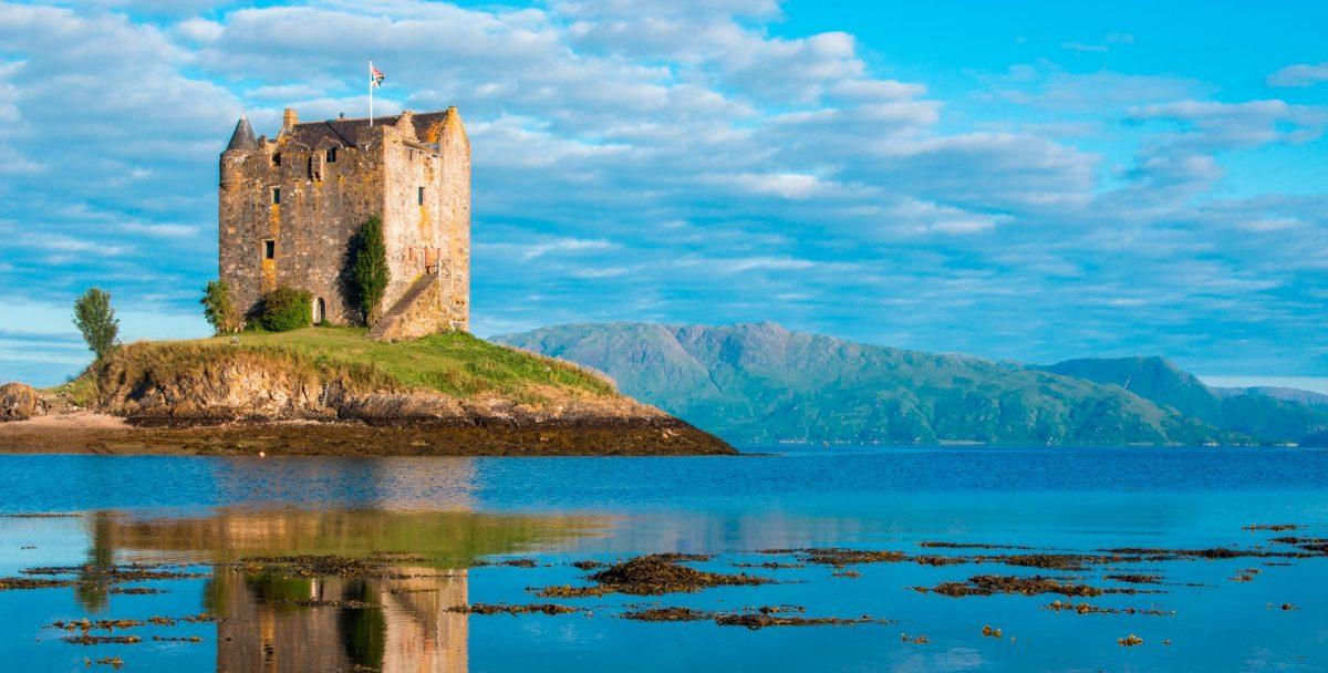 British Isles sight Castle Stalker in Oban, Scotland, United Kingdom