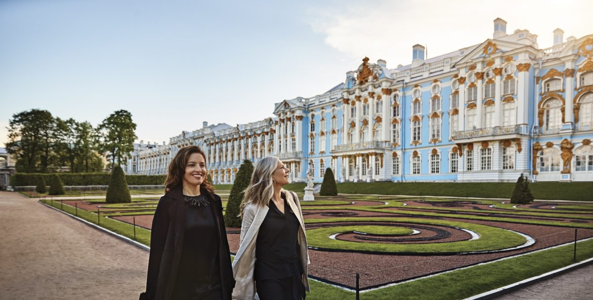 Two Princess guests enjoying a visit to Catherines Palace St Petersburg