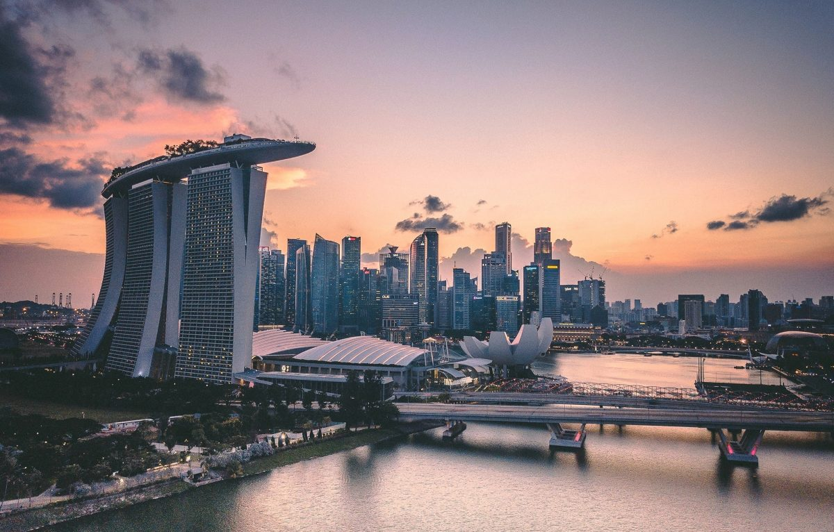 Cityscape of Singapore at golden hour