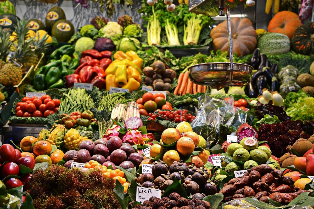 Boqueria Market Stall with fresh fruit and veg