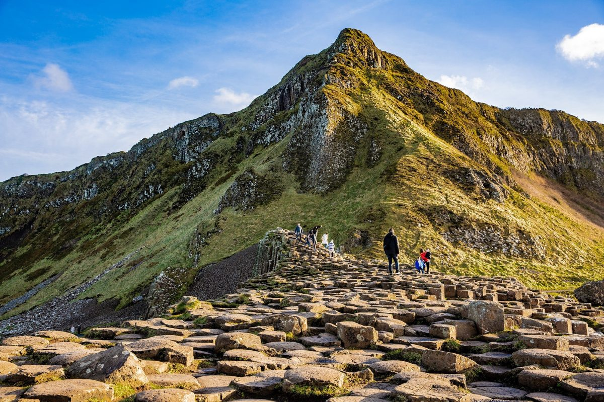 People climbing Giants Causeway Belfast
