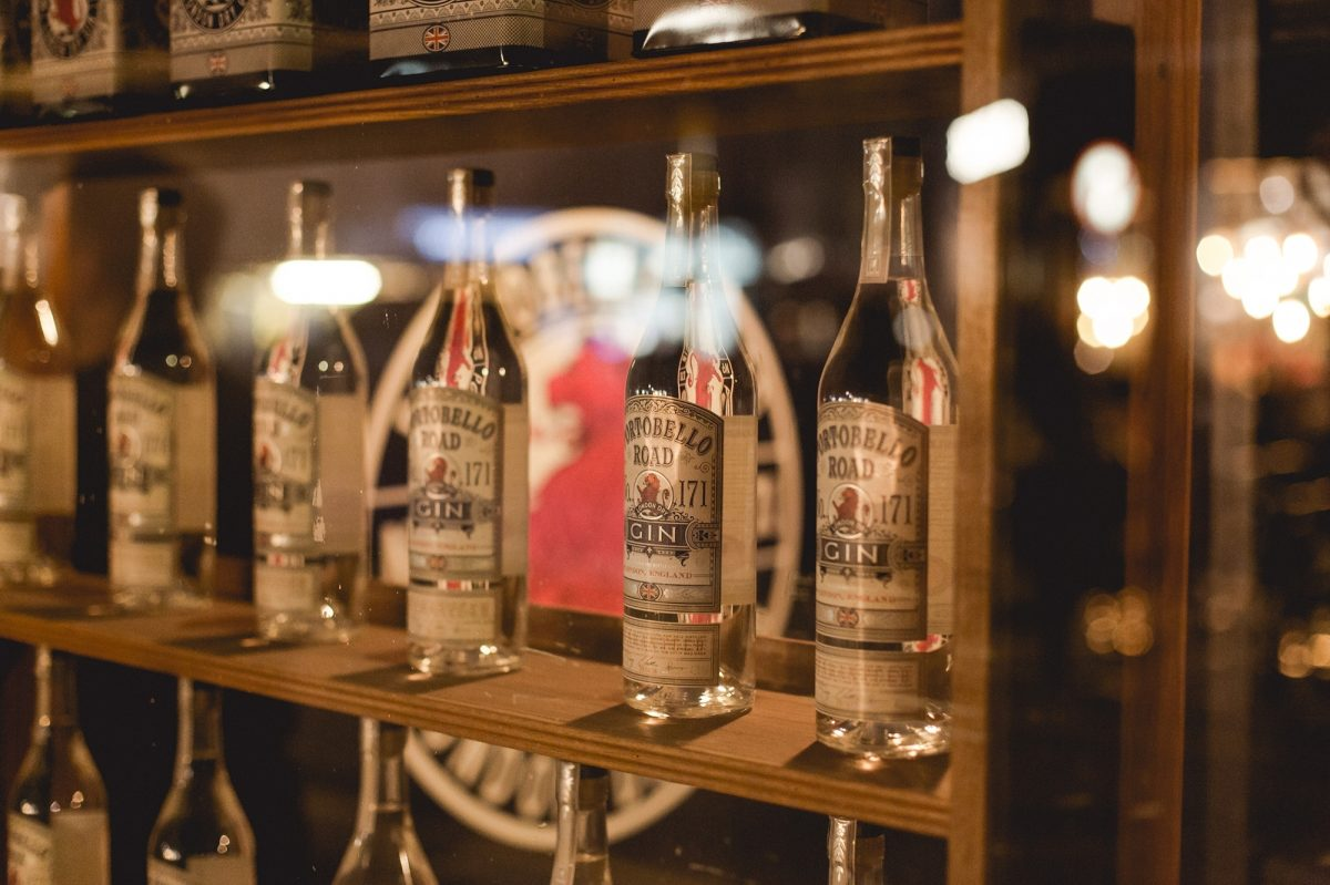 Bottles of gin at a bar
