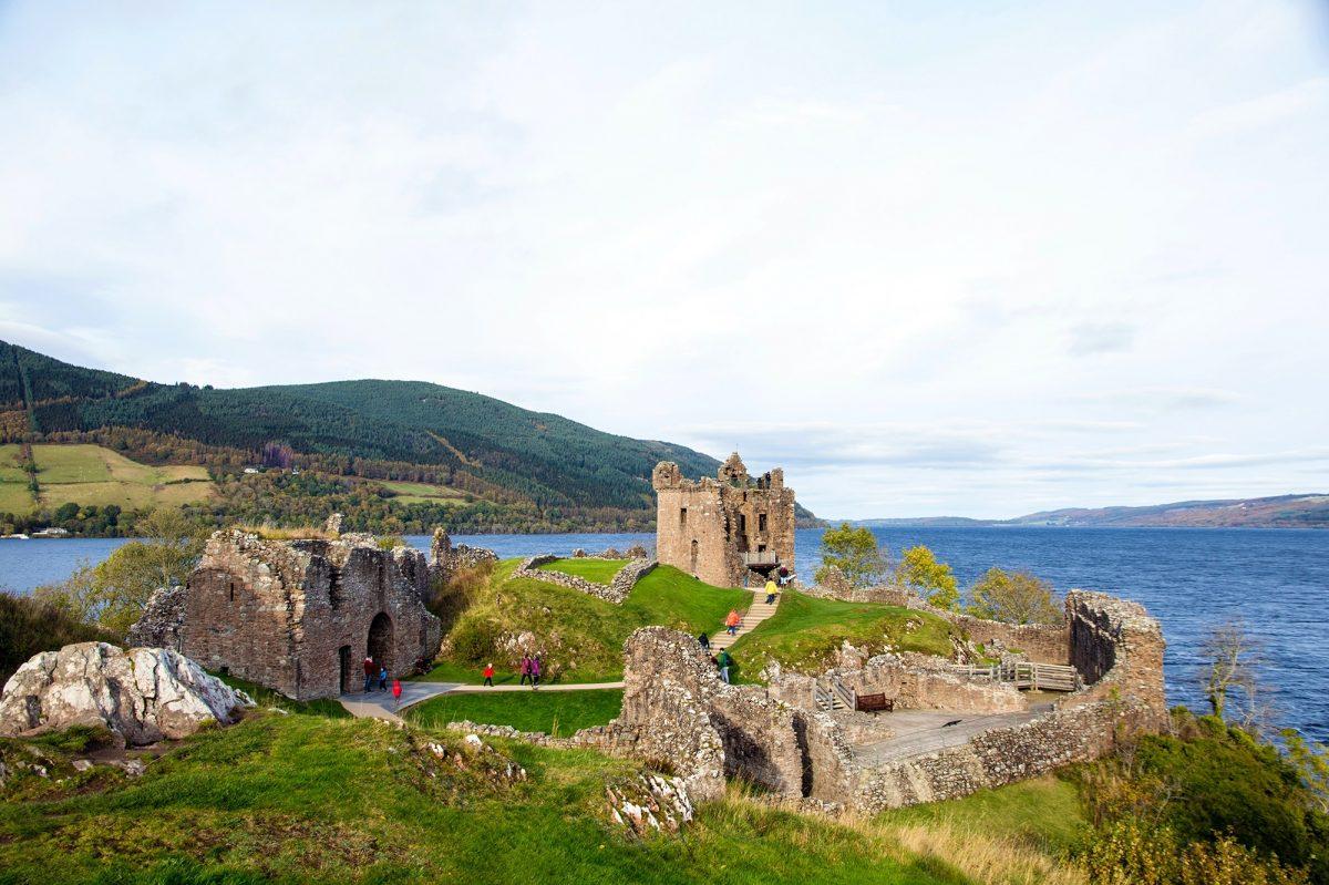 People visiting Urquhart Castle