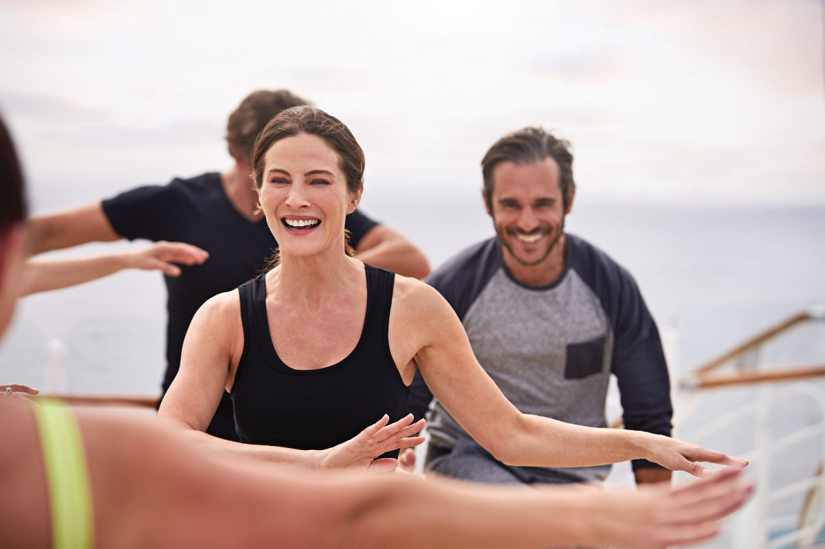 Keeping fit with a yoga class on deck