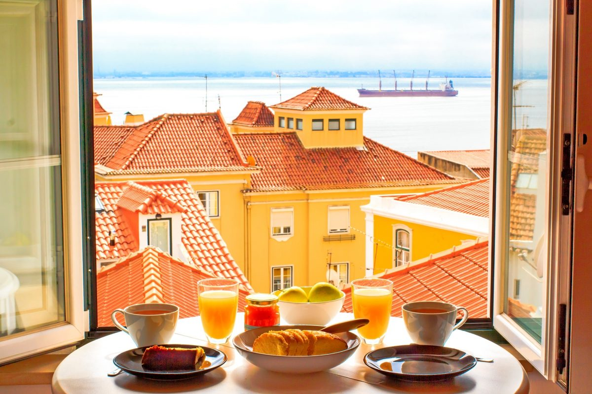 View of Lisbon with food