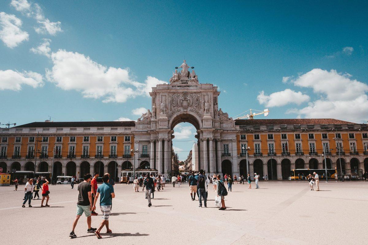 People walking around Lisbon
