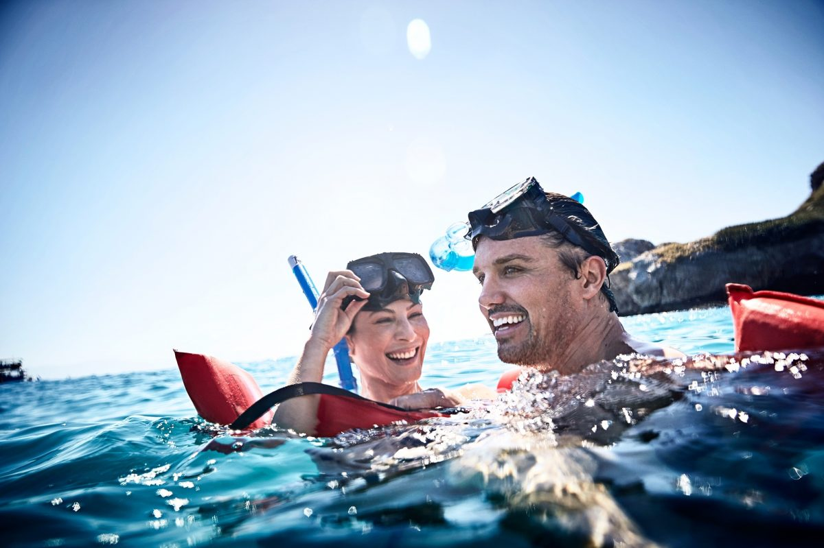 Two people snorkelling in Mexico