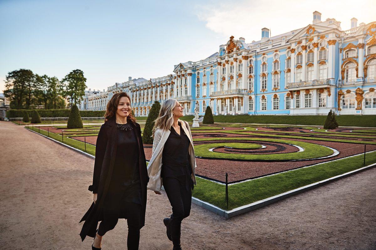 Two women walking in St Petersburg