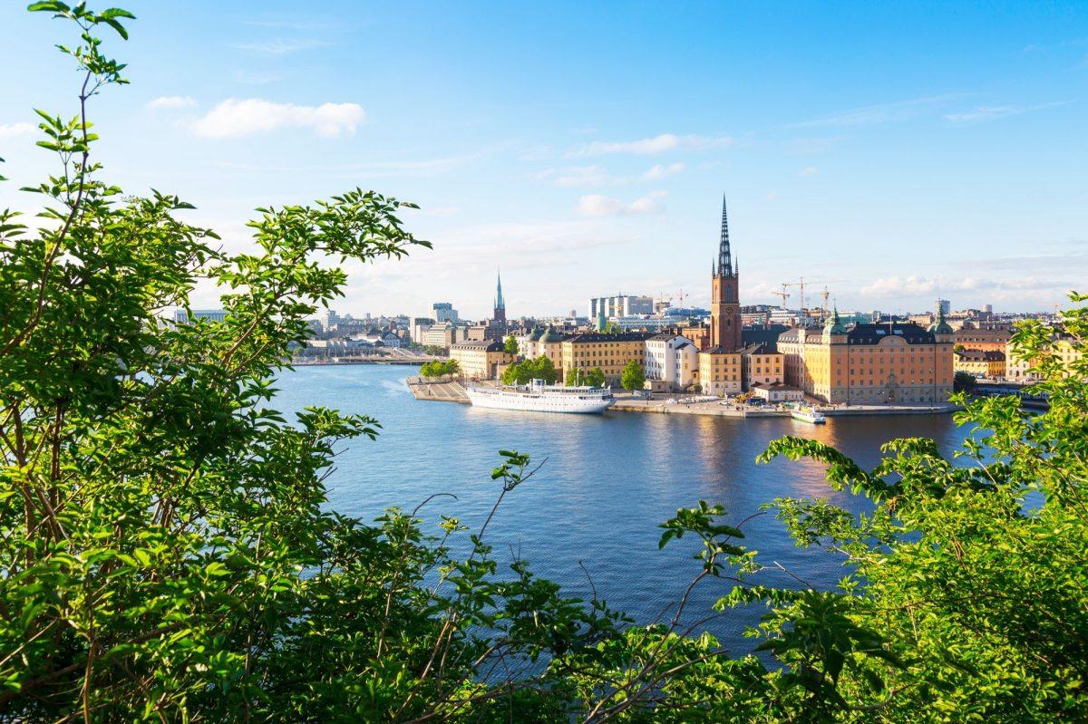 Riddarholmen Church and city skyline from Sodermalm, Stockholm, Sweden, Scandinavia, Europe