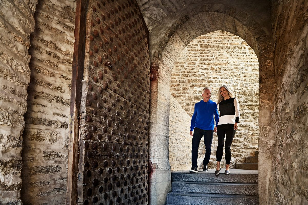 Couple exploring Tallinn