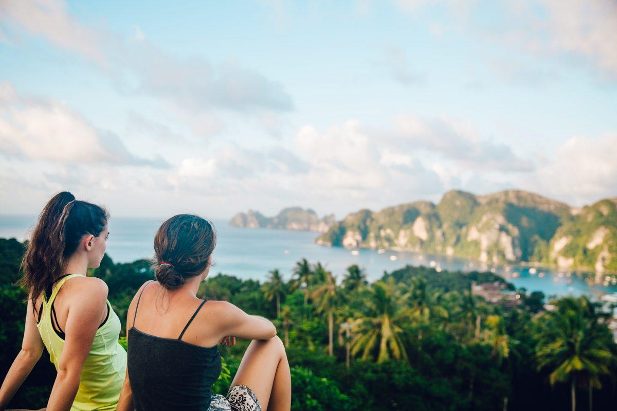 Two women looking over bay of Phi Phi Islands