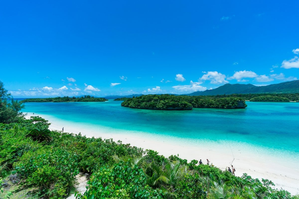 Blue sea and white sand of Kabira Bay, Ishigaki Island, Okinawa Japan
