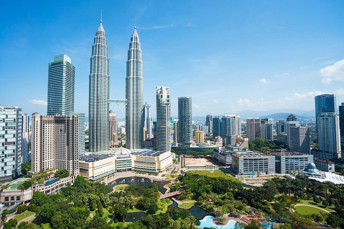Aerial view over Kuala Lumpur in Malaysia with the Petronas Towers in view
