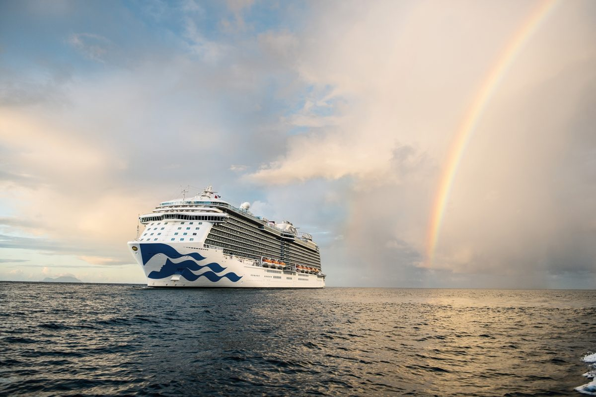Royal Princess at sea with rainbow