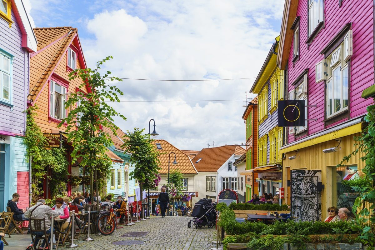 Ovre Holmegate, a colourful street of shops and cafes in the centre of Stavanger,