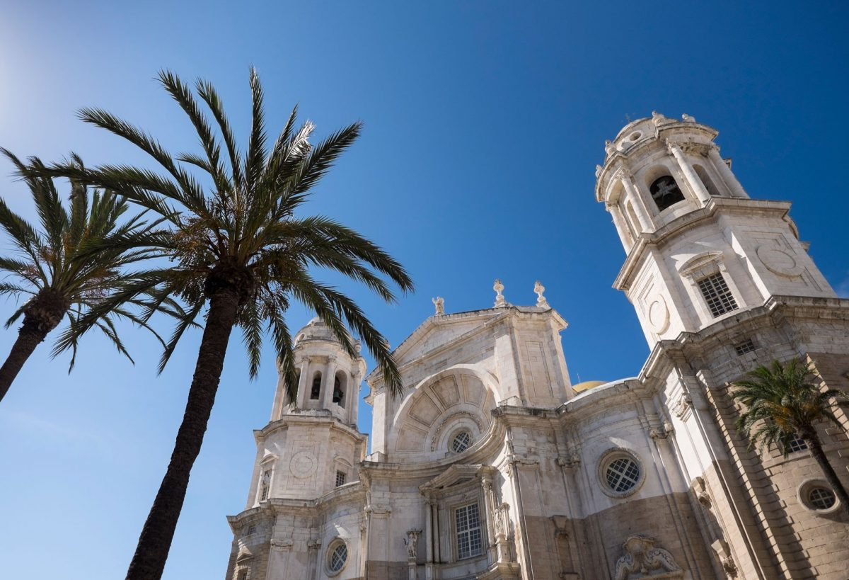 Palm trees in front of Cathedral in Cadiz, Spain