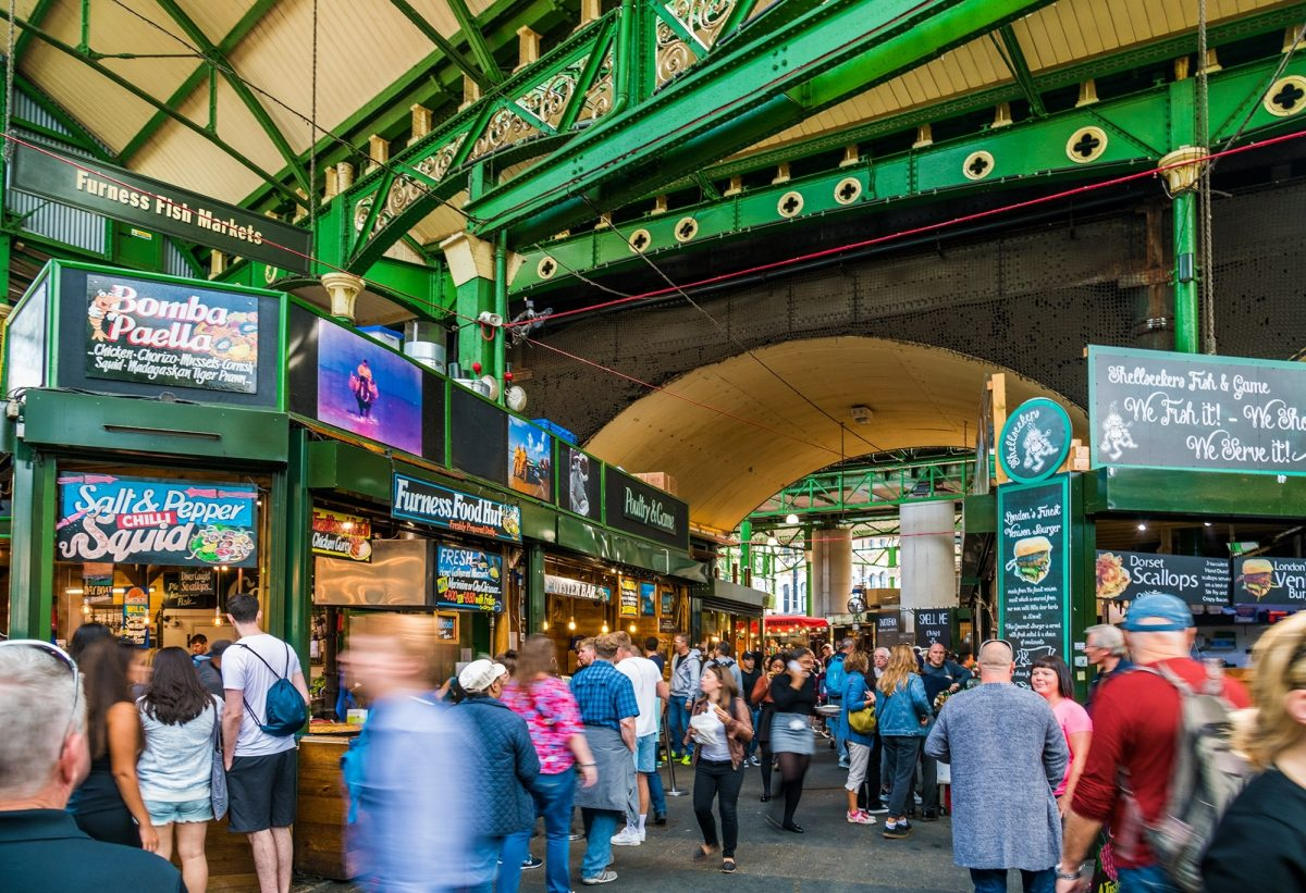 Stalls and people at Borough Market