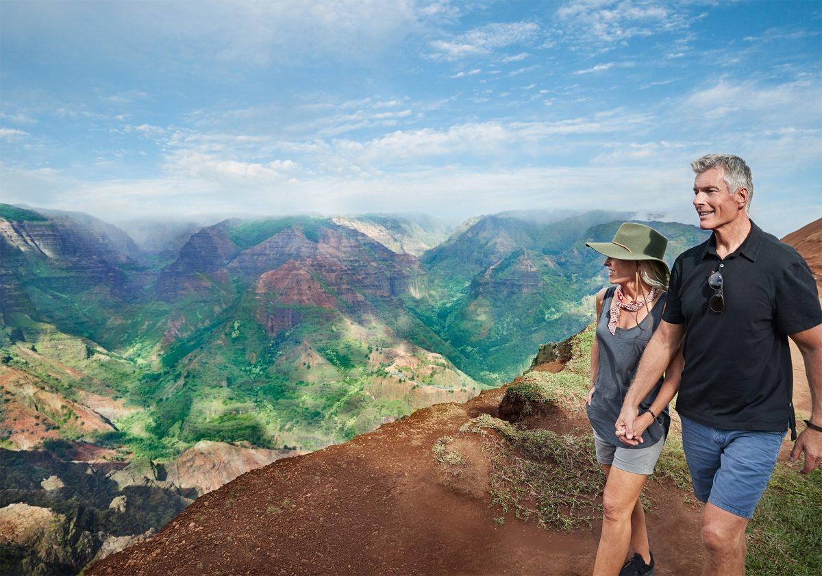 Couple walking in Hawaii