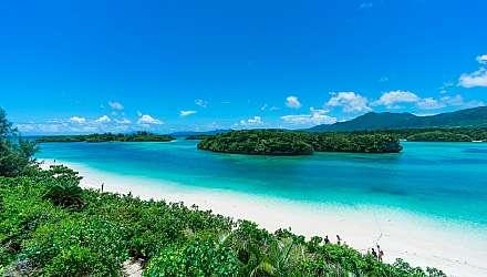 Blue sea and white sand of Kabira Bay, Ishigaki Island, Okinawa Japan
