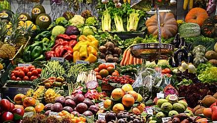 Boqueria Market Stall with fresh fruit and veg
