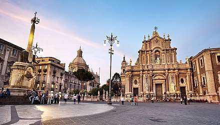 Piazza del Duomo and facade of the cathedral in Catania