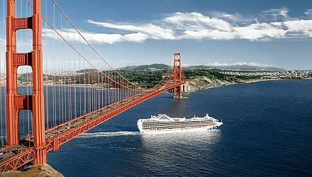 Grand Princess sailing under the Golden Gate Bridge in San Francisco