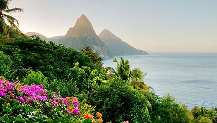 A view of the The Pitons which are two mountainous volcanic spires, located in Saint Lucia
