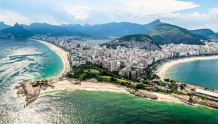 Aerial view of Ipanema, Arpoador and Copacabana in Rio de Janeiro