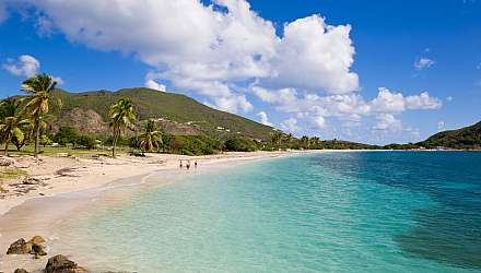 Beautiful white sandy beach and turquoise sea in St Kitts